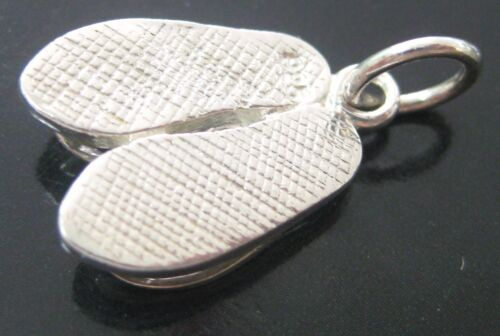 REAL sterling silver PLAIN pair of THONGS slipper pendant or charm 925 STAMPED