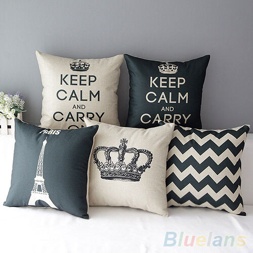 Sofa Home Decorative Linen Cotton Blended Cushion Cover Crown Throw Pillow Case