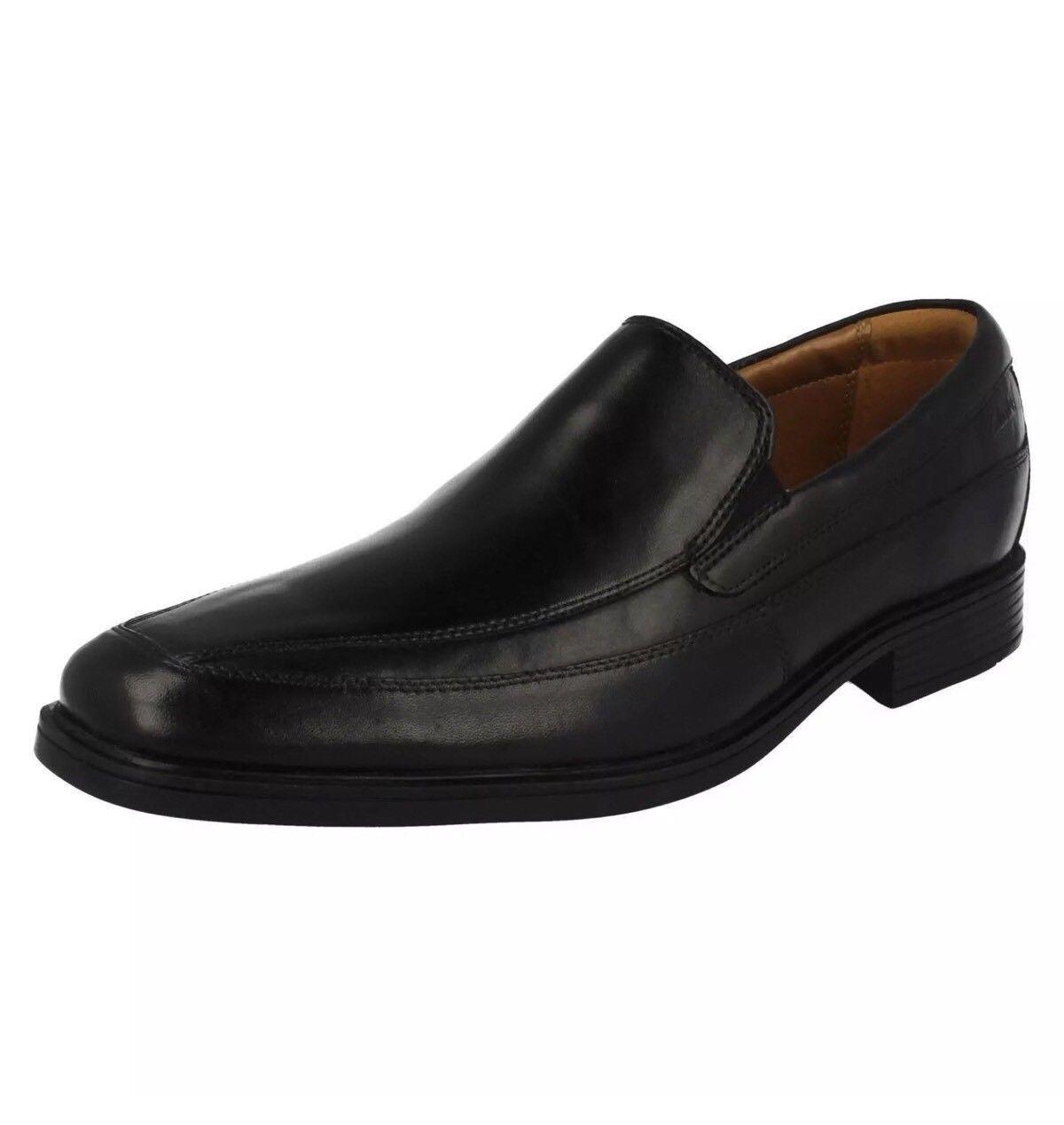 Clarks Tilden Free Men's Shoes Black Leather Slip On Shoes Men's G-Fit (R28A)(Kett) 5a005b