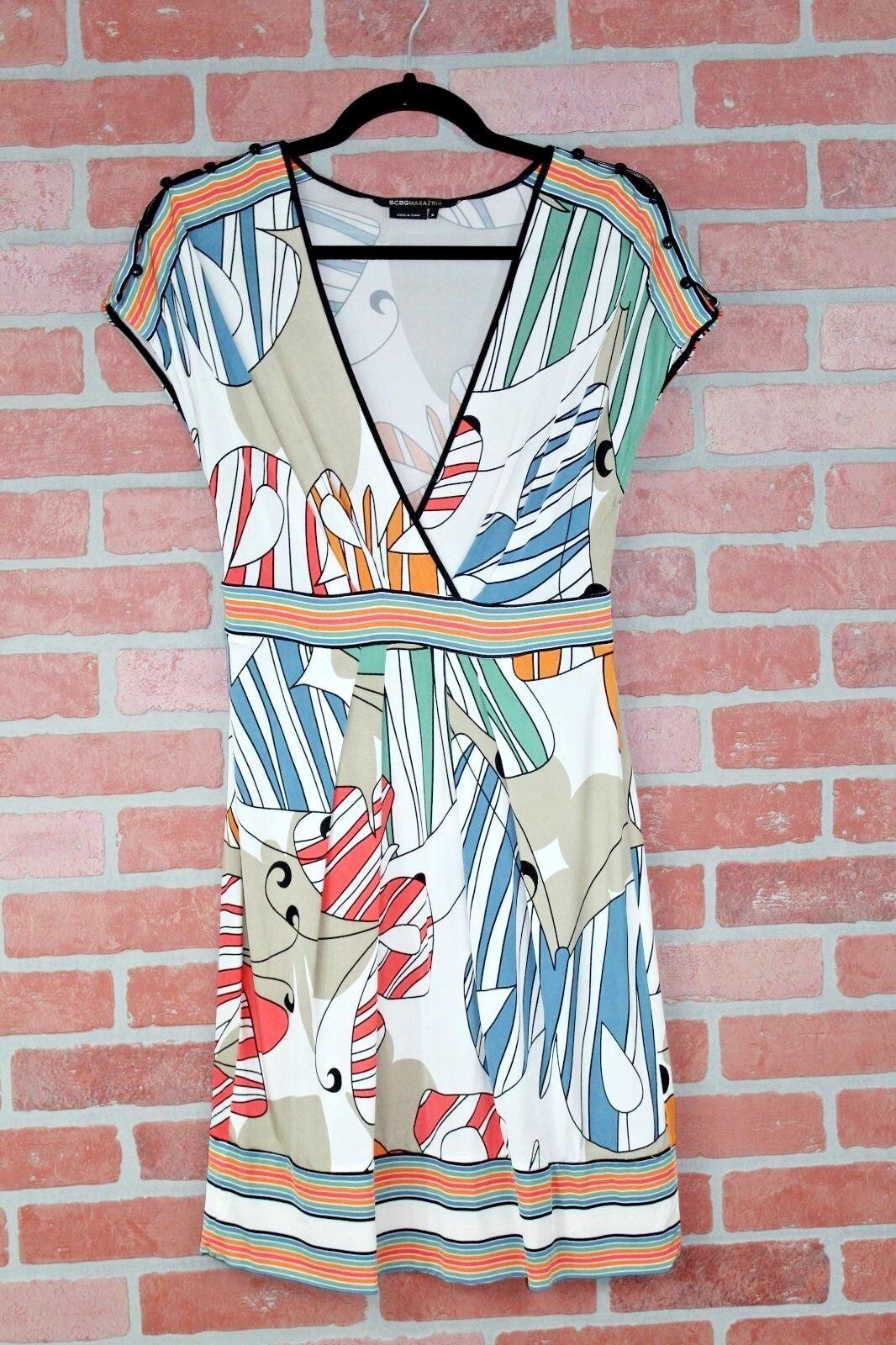 BCBGMaxazria Stretchy Empire Waist Dress Butterfly Print Size Small