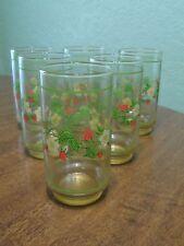 Sheffield Strawberries n Cream Glass Cups Tumblers Set of 6