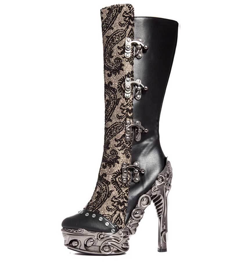 Hades ARIANNA Black Knee Boots Steampunk Victorian Predeus Metallic High Heels