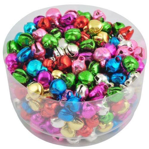 100pcs//bag Xmas Colorful Iron Beads Christmas Tree Jingle Bells Decor 8x6mm Gift