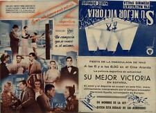 Año 1943. Programa PUBLICITARIO de CINE: Su mejor Victoria.