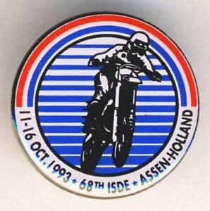 1993-FIM-Six-Days-ENDURO-Motorcycle-PIN-badge-ISDE-Assen-HOLLAND-ISDT