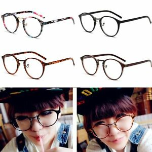 be2dba060391 2018 Men Women Clear Lens Round Eyeglass Frames Metal Optical ...