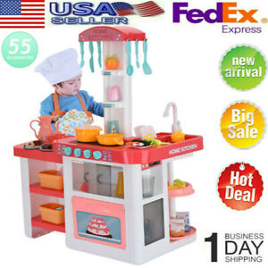 Kitchen Playset Toy Kids Pretend Play Toys For Girls Role Playing Cooking Sets 657385209599 Ebay