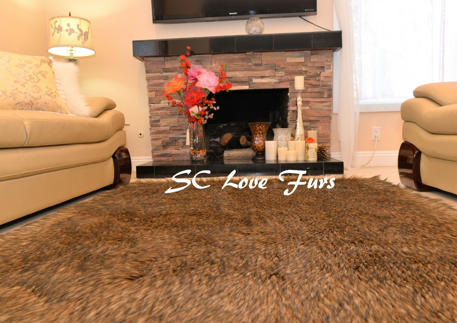 Chocolate braun Raccoon Exotic Faux Fur Area Rug Rug Rug Lodge Cabin  Fake Furs Rug d635ff