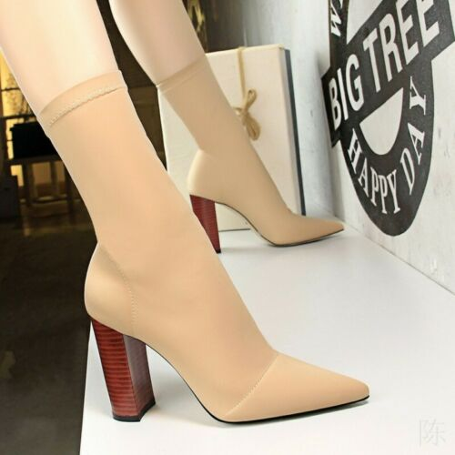 New Fashion Women/'s Block High Heels Pointy Toe Pull On Stretchy Mid Calf Boots