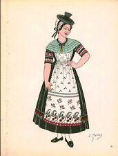 Gravure d'Emile Gallois costume des provinces françaises 1950 Bourgogne, Mâcon