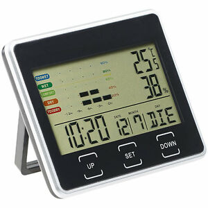 digitalwecker digitaler wecker mit kalender thermometer und hygrometer ebay. Black Bedroom Furniture Sets. Home Design Ideas