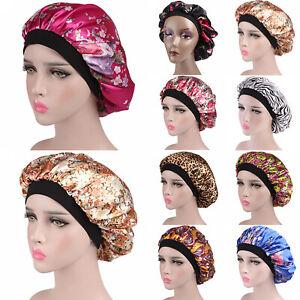 Women Night Sleep Cap Hair Bonnet Hat Head Cover Satin Turban Wrap Band Elastic