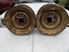Early Ford F100 F1 Pair 15x8 Stock Steel Wheels Truck 5x55 Bolt Circle 57 66