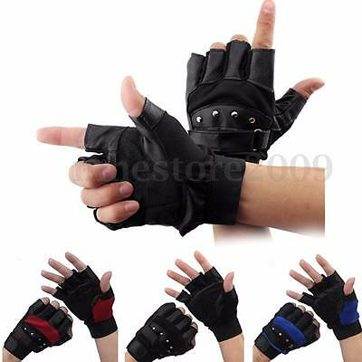 Leather Half Finger Fingerless Gloves Military Tactical Motorcycle Bike Cycling