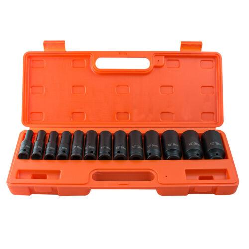 10-32mm 1//2/'/'Deep Impact Socket Tool Set Drive Metric Axle Hub Nut Socket 13Pcs