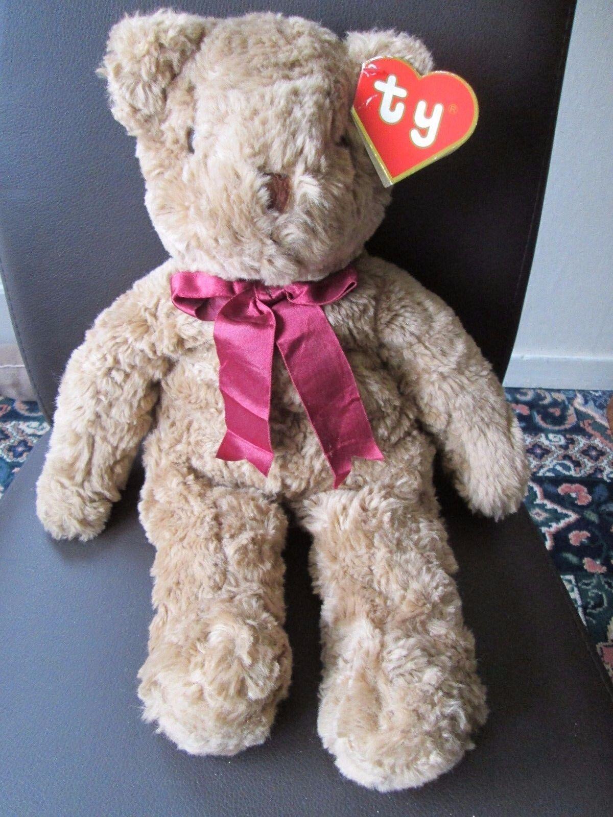 RUMPLES BEAR TY PLUSH, 17'', Burgundy Ribbon,1990 Hang Tag,Rare Collectable BEAR