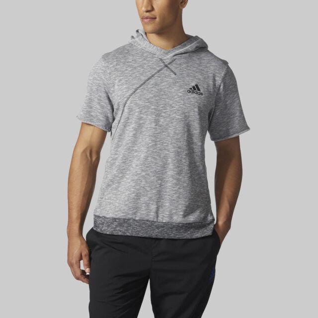NEW Grey Black Adidas Cross Up Short Sleeve Hoodie BP7266