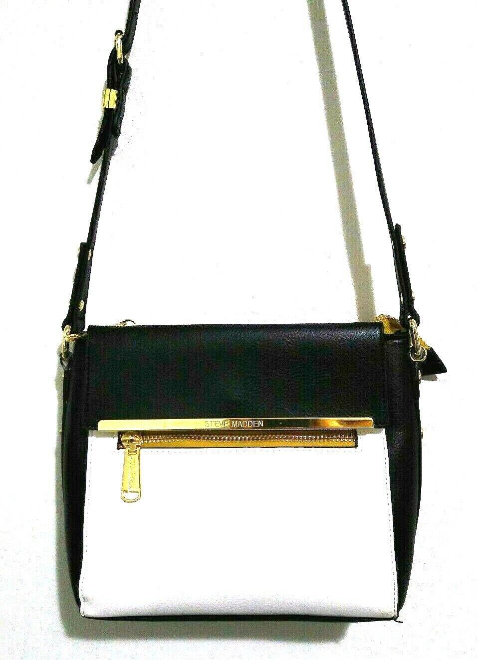 Steve Madden Crossbody Bag Adjustable Strap Black White Gold 11 x 8
