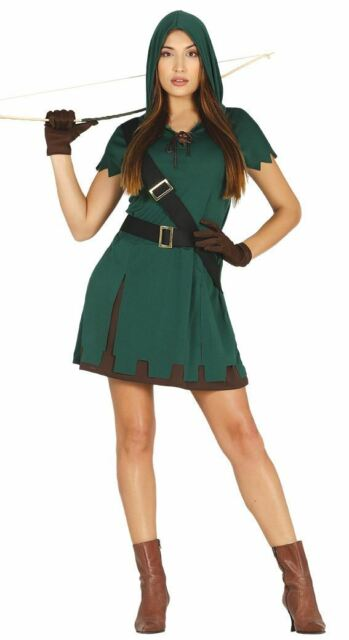 Mens Green Robin Hood Archer Hunter Medieval Fancy Dress Costume Adults Outfit