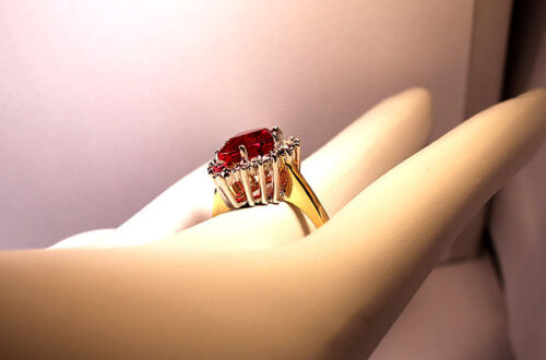 Pear Cut Siam Red Lady 18kt Gold Plated Fashion Ring