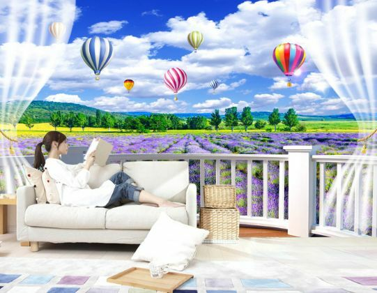 3D Lavendel, Heißluftballon 7 Fototapeten Wandbild Fototapete BildTapete Familie