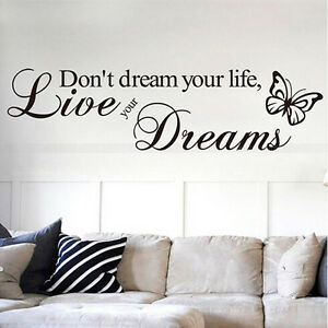 Removable Quote Word Decal Vinyl DIY Home Room Decor Art