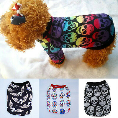Pet Dog Cat Puppy Sweater T Shirt Vest  For Small Pet Dog Costume Skull Clothes
