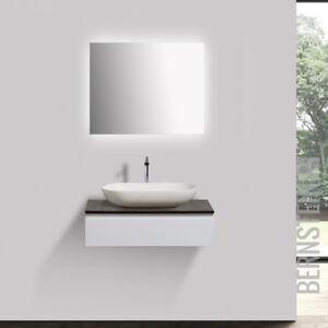 Aufsatzwaschbecken Mit Unterschrank badmöbel vision 70cm weiß led spiegel aufsatzwaschbecken