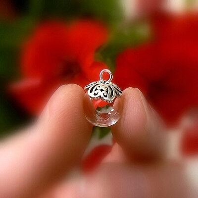 1 glass GLOBE sterling silver FLOWER cap 925 (miniature/ bottles/ vial pendants)