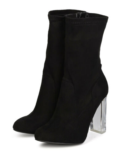 New Women Wild Diva Blossom-22 Faux Suede Mid Calf Lucite Block Heel Boot