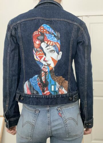 hand painted denim jacket.