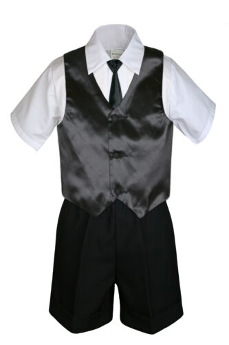 4pc Baby Boys Toddler Formal Black Vest Necktie Dark Khaki Gray Shorts Set S-4T