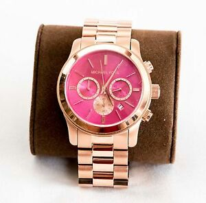29d8321bb913 Image is loading MICHAEL-KORS-Chronograph-RANWAY-Pink-Dial-Rose-Gold-