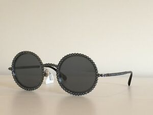 78f661a1a40 Image is loading CHANEL-71138-L0844-Round-Gray-Pearls-Mirrored-Lenses-