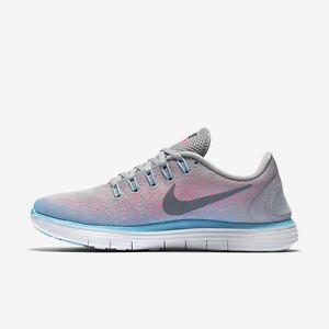 Details about Women's Nike Free RN Distance Wolf Grey Dark Grey Pink Blast 827116 006