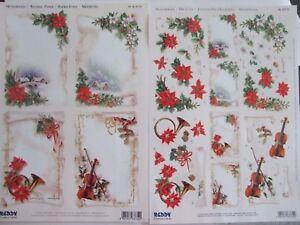 2 Hojas De Navidad pergaminos 1 X dado corta 1 x tarjetas creativo Forro Reddy
