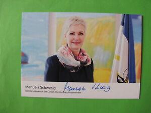 Autogrammkarte - Manuela Schwesig - Ministerpräsidentin MV -orig. autogr.