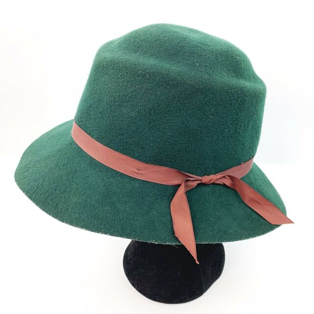 cea5be7d6 Vintage EFFANEM Crusher Hat Green 100% Wool Made in the USA Size Medium