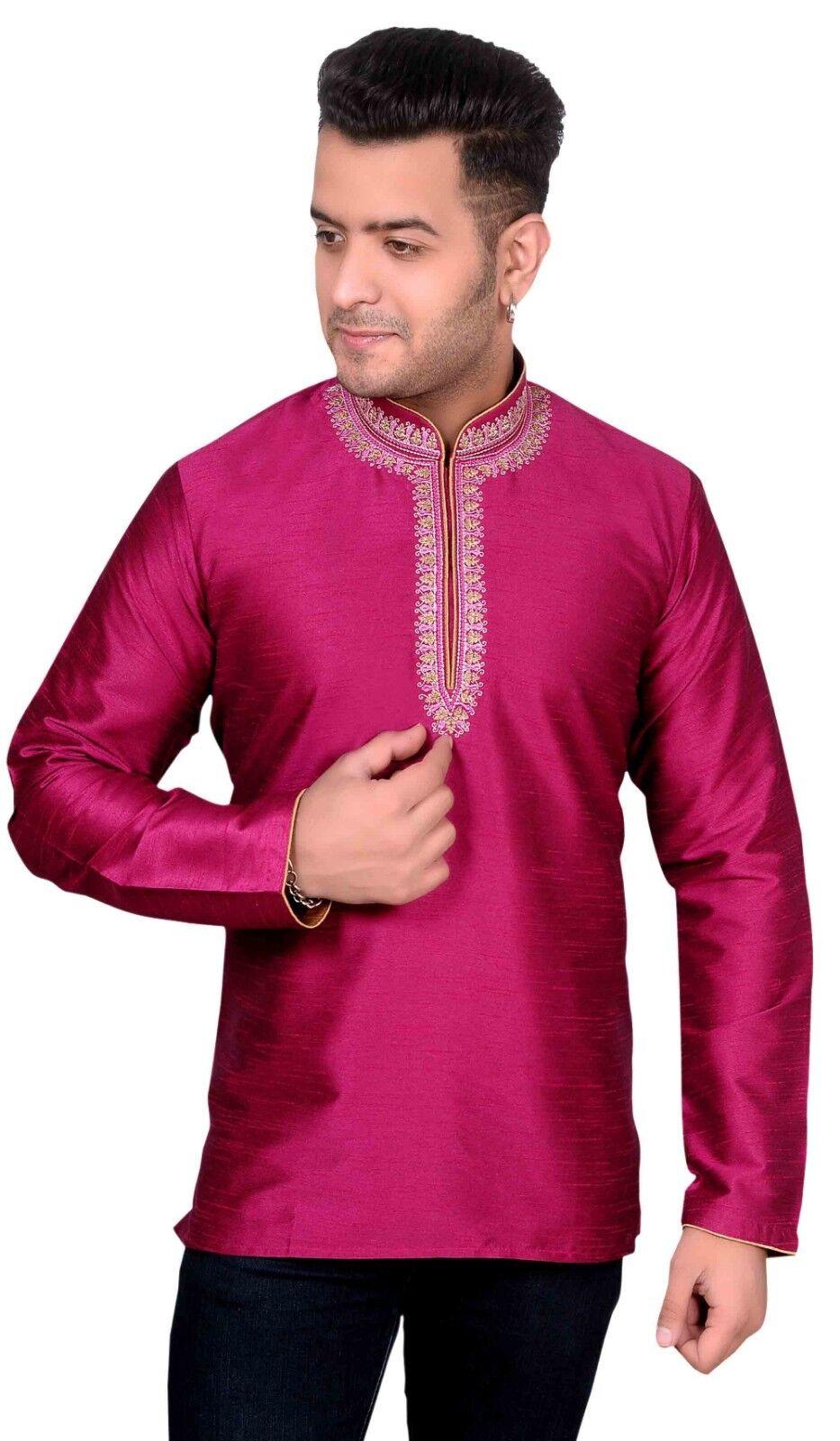 Desi Sarees Herren Nehru Nehru Nehru Stil Kragen Kurta Kurzes Hemd Tunika Bollywood-Thema   Online einkaufen  95bf3a