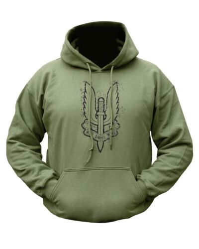 Mens British Army Combat Military Hoodie Hooded Sweat Top SAS Who Dares Wins New