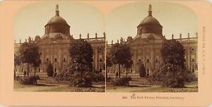 Germania-Potsdam-Nouveau-Neues-Palais-Palace-Foto-Stereo-Vintage-Albumina