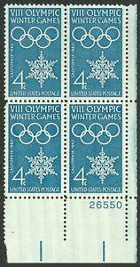 #1146 4c 1960 Invierno Olimpiadas, Placa Bloque [26550 LR ] Cualquier 5=