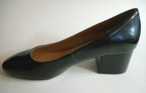 BRAND NEW DEXFLEX COMFORT Size 7.5 To 11W Shiny Black Cushioned Heel Pump Shoes