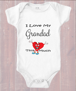 I Love My Grandad This Much with Funny Heart  Baby Grow BodySuit Body Vest Suit