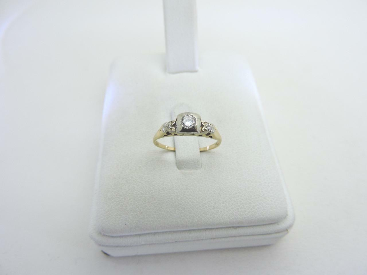 14K Yellow gold Engagement 0.20 Diamond Ring Vintage Dainty 1.8 G Size 6.25