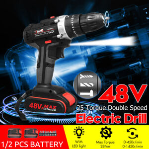 48V-Electric-Hammer-Drill-Cordless-Drill-Woodworking-Tool-Rechargeable-2