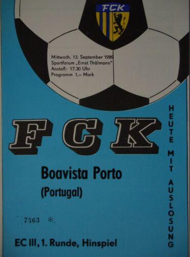 Programm EC 1989//90 FC Karl Marx Stadt Boavista Porto