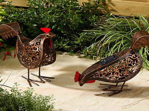 Deux Smart Jardin Solaire Poules Oiseau Silhouette lumière jardin lumière Figure Ornement