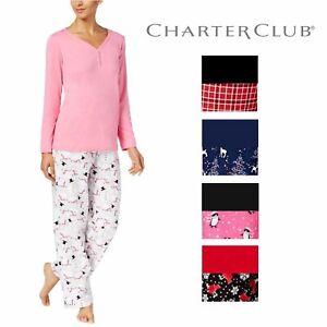 Charter Club Graphic Top /& Printed Pants Pajama Set