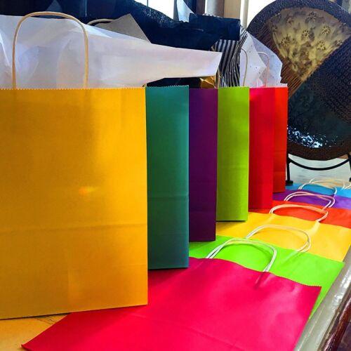 "60pc MEDIUM Colorful Paper Gift Bag Handle Party Supplies 10.25/""x 8.5/"" BULK"